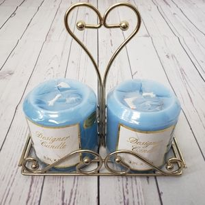 Metal Heart Dual Candle Holder